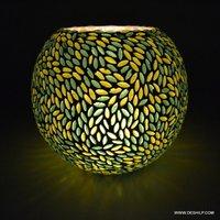 Green & Yellow Mosaic Glass Tealight Votive Candle Holder