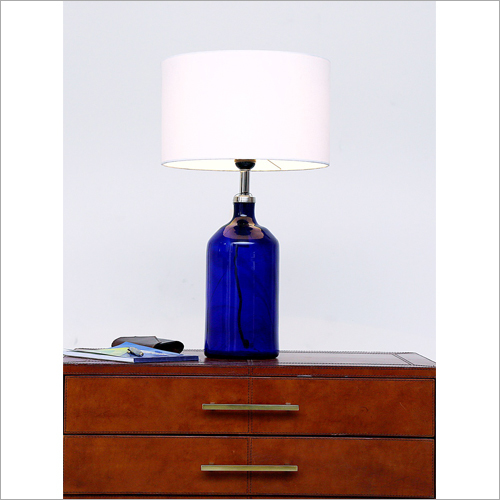 Blue Bottle Glass Table Lamp