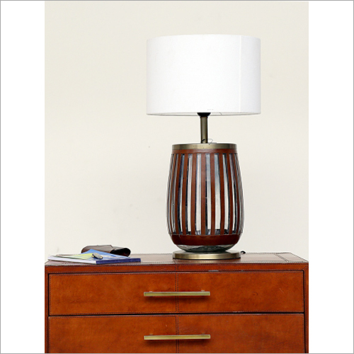 Leather Strip Glass Table Lamp