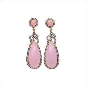 Ladies Rose Chalcedony White Zircon Earring