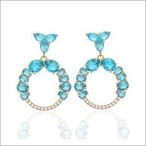 Ladies Blue Topaz Earring