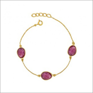 Ladies Pink Tourmaline Gemstone Bracelet