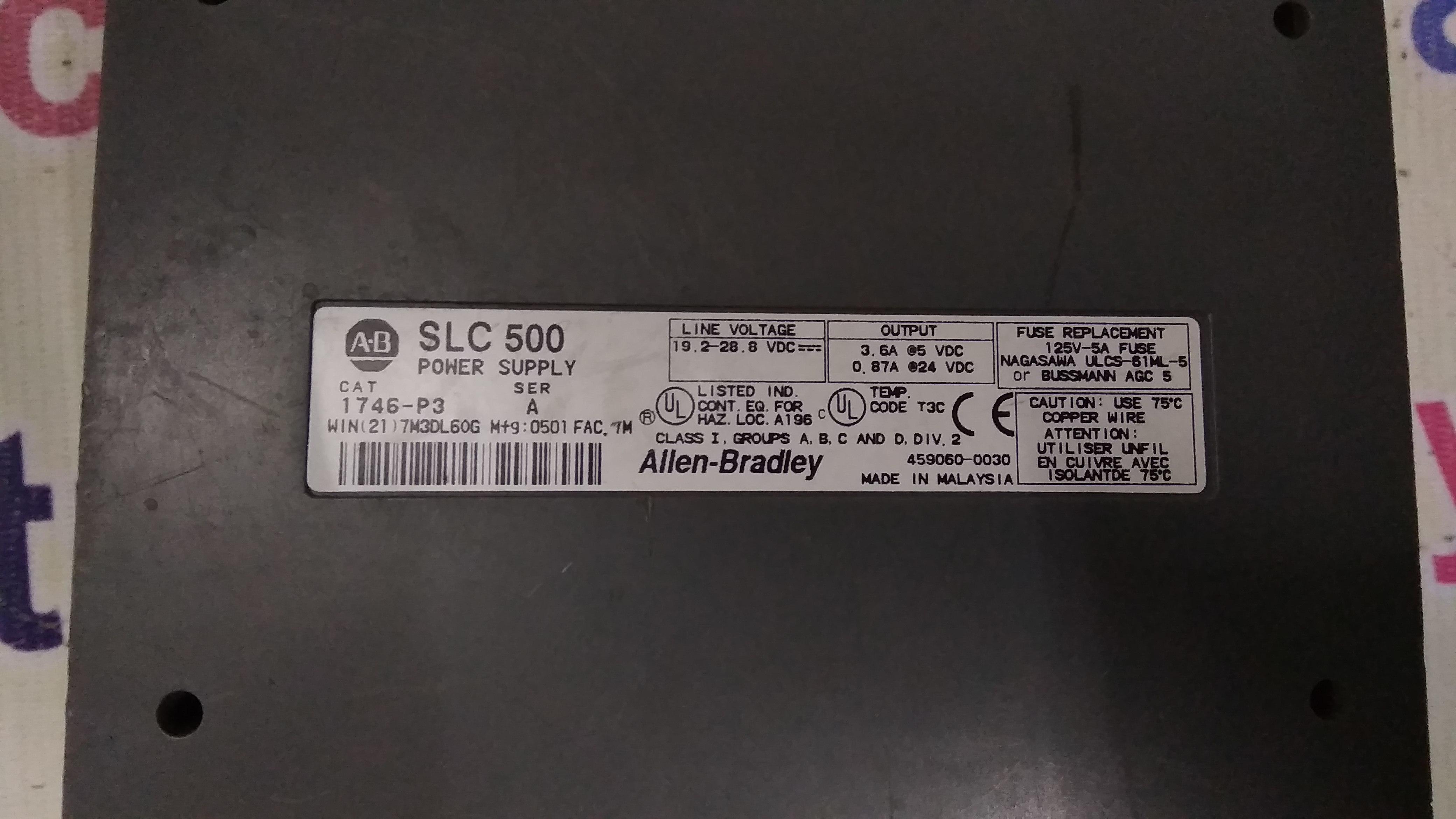 ALLEN BRADLY SLC 500 POWER SUPPLY  1746-P3 A