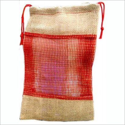 Red & Brown Jute Pouch
