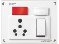 Press Fit Glory 5-in-1 6/16 Amp. S.S. Combined Indian Socket