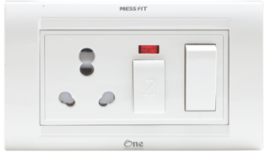 Press Fit One Modular 6/16 Amp. 5-in-1 Switch Socket Combined