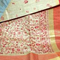 Tassar Kalamkari Embroidery Sarees