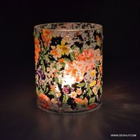 PRINTED GLASS SMALL T LIGHT CANDLE VOTIVE