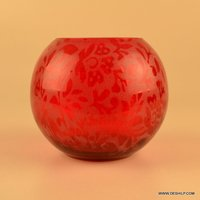 PRINTED GLASS RED COLOR T LIGHT CANDLE VOTIVE HOLDER