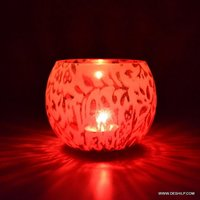 PINK GLASS T LIGHT CANDLE HOLDER