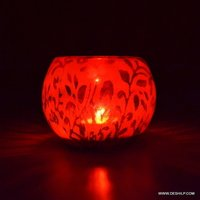 PRINTED GLASS DECOR GLASS CANDLE HOLDER