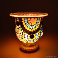 MOSAIC GLASS ANTIQUE CANDLE HOLDER