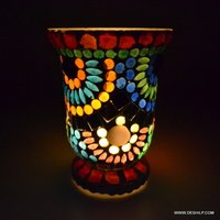 MOSAIC GLASS DECOR T LIGHT HOLDER