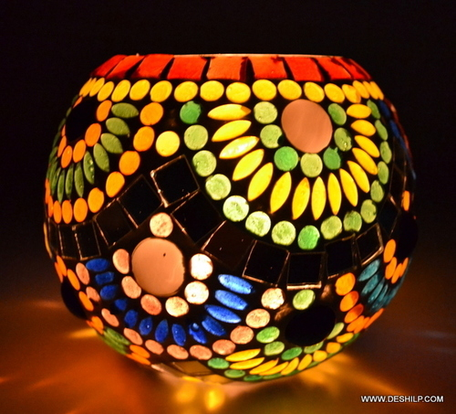 Mosaic Glass Candle Holder Home Decor Gift Items For Home Mosaic
