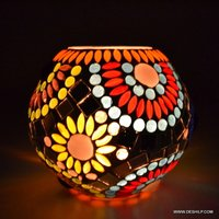 GLASS HANDCRAFTED MOSAIC CANDLE HOLDER