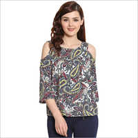 Ladies Cold Shoulder Printed Top