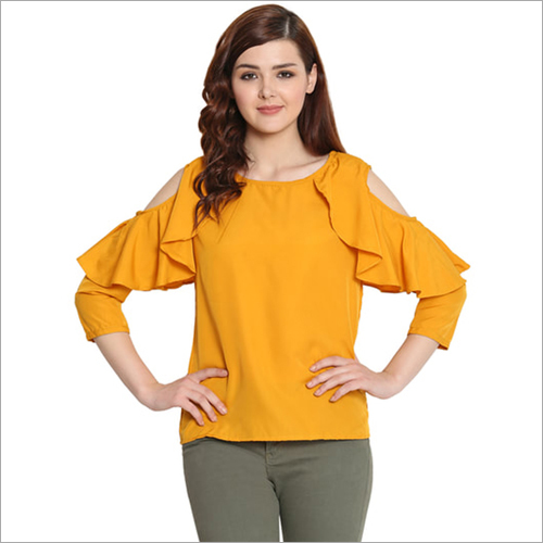 Ladies Casual Top with Ruffle Cold Shoulder Sleeves