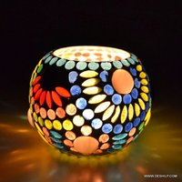 MULTI COLOR MOSAIC DECOR CANDLE HOLDER