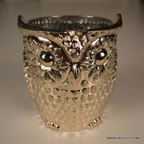 OWL SHAPED GLASS SILVER CANDLE HOLDER