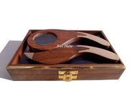Wooden Magnifying Glass & Letter Opener with Box