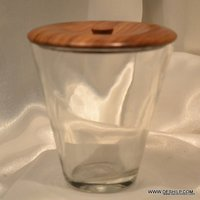 CLEAR GLASS COTTON BIRD HOLDER