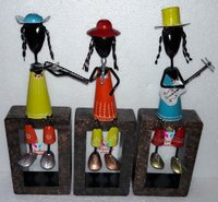 Iron Painted Musical Lady Set of 3