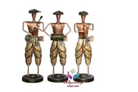 Iron Painted Musical Men with Pagdi Set of 3