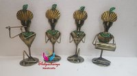 Iron Painted Sitting Krishna Set of 4
