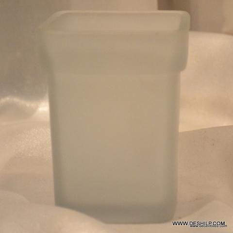 ANTIQUE SHAPE GLASS FROSTED BATHROOM BRUSH HOLDER