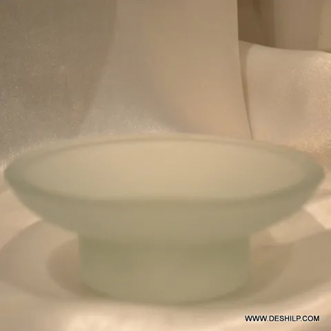 GLASS FROSTED SOAP HOLDER