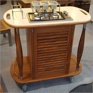 Restaurant Wooden Flame Trolley