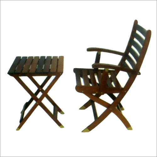 Burma Teak Wooden Folding Table And Folding Chair