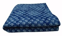 Indigo Print Blue Color Circle and Small Buti Design Printed Fabric