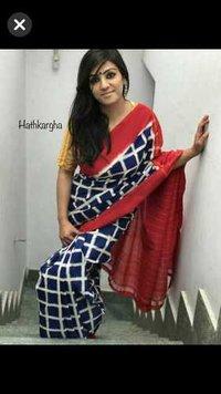 Cotton Hand Print Mulmul Sarees