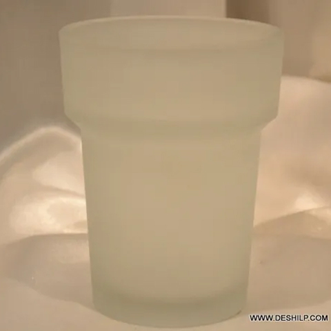 ANTIQUE GLASS FROSTED BATHROOM TUMBLER