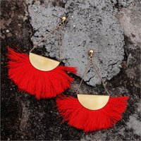 Earring-Mistry Tassels Red