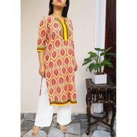 BlockPrint Border Cotton Kurti
