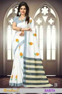Cotton Hand Print Sarees
