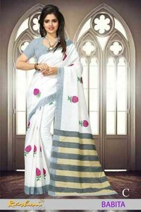 Hand Print Cotton Sarees