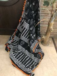 Black Cotton Mulmul Sarees