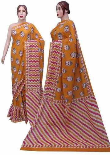 Orange Cotton Printed Sarees