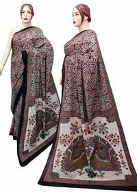 Brown Cotton Mulmul Sarees