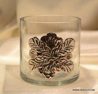 Silver Stars Glass Tea Light Holders