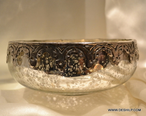 SILVER GLASS BOWL WITH MATTEL  FITTING