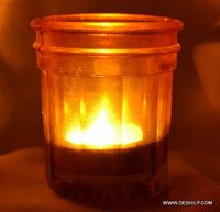 COLORFUL T LIGHT GLASS CANDLE HOLDER