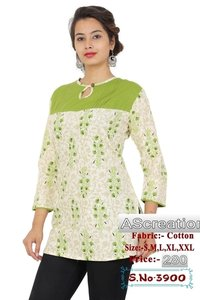 Ladies Designer Print Short Kurtis