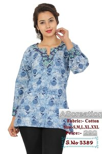 Ladies Short Cotton Casual Kurtis