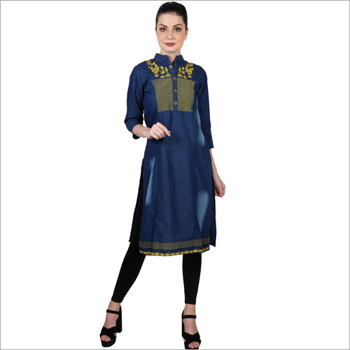 Ladies Embroidered Denim Kurti