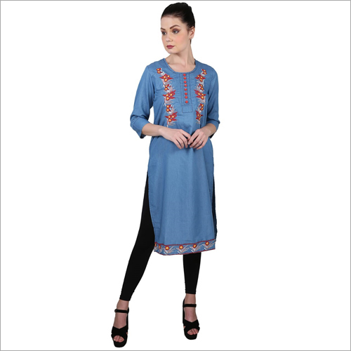 Ladies Fine Embroidery Denim Kurti