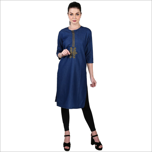 Ladies Trendy Denim Kurti